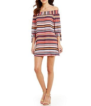 Soulmates Striped Off-The-Shoulder Smocked Tie-Detail Shift Dress
