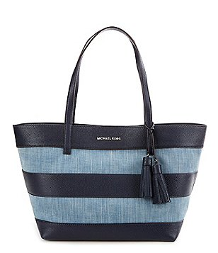 MICHAEL Michael Kors Striped Denim Tasseled Large East/West Tote