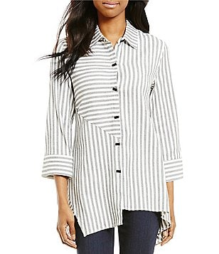 Ali Miles Point Collar Roll-Tab Sleeve Button Front Striped Tunic