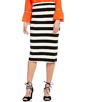GB Striped Midi Pencil Skirt