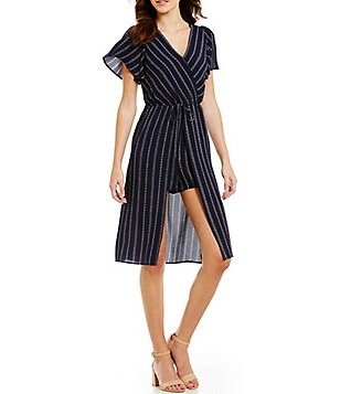 Soulmates Striped Short Flutter-Sleeve V-Neck Romper Midi