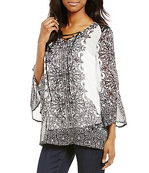 Ali Miles Border Print V-Neck 3/4 Sleeve Tunic