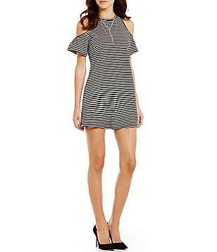 Soulmates Ruffle Cold-Shoulder Striped Shift Dress