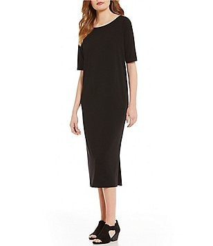 Eileen Fisher Ballet Neck Short Sleeve Solid Shift Dress