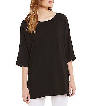 Eileen Fisher Ballet Neck 3/4 Sleeve Boxy Tunic
