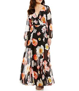 GB Floral Surplice V-Neck Long-Sleeve Ruffle Wrap Maxi Dress