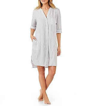 DKNY Striped Boyfriend Sleepshirt