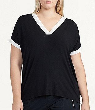 Lauren Ralph Lauren Plus Color-Blocked Jersey Top