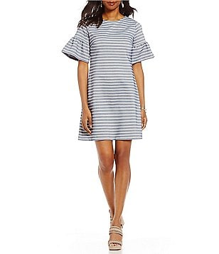Ivanka Trump Stripe Jacquard Knit Ruffle Bell Sleeve Sheath Dress