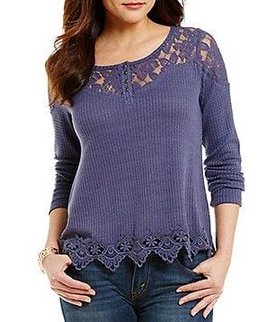 Coco + Jaimeson Waffle-Knit Floral Lace Yoke Crochet-Trim Thermal Top