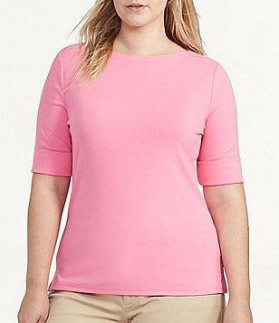 Lauren Ralph Lauren Plus Boatneck Elbow Sleeve Stretch Cotton Tee