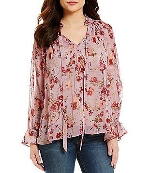 Coco + Jaimeson Floral Printed Tie-Neck Long-Sleeve Blouse