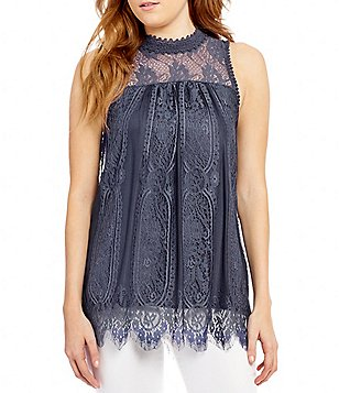 Coco + Jaimeson Eyelash Trimmed Floral Lace Yoke Mock Neck Tank Top