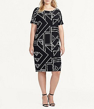 Lauren Ralph Lauren Plus Geometric-Print Short Sleeve Shift Jersey Dress