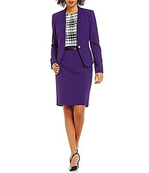 Calvin Klein Luxe Stretch V-Neck One-Button Suit Jacket & Faux-Leather Belted Solid Pencil Skirt