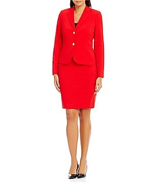 Calvin Klein Zip Front Faux-Leather Trim Jacket and Pencil Skirt