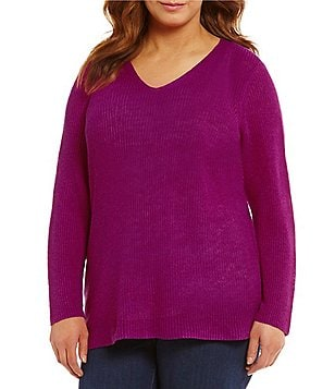 Eileen Fisher Plus V-Neck Bracelet Sleeve Top