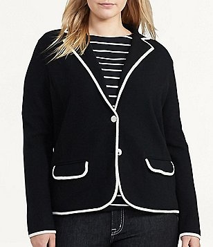 Lauren Ralph Lauren Plus Stretch Cotton Sweater Blazer