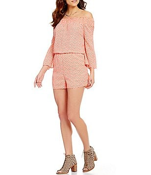 GB Ditsy Print Long-Sleeve Smocked Off-The-Shoulder Romper