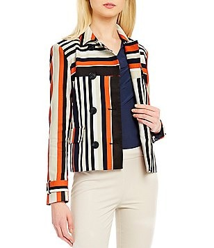 Jones New York Dobby Point Collar Long Sleeve Textured Stripe Print Jacket
