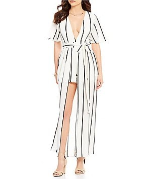 GB V-Neck Striped Open-Front Skirt Overlay Maxi Romper