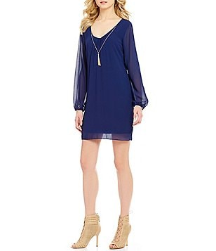 I.N. San Francisco Bar-Back Necklace Shift Dress