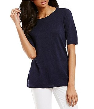 Eileen Fisher Petites Ballet Neck Short Sleeve Solid Tunic