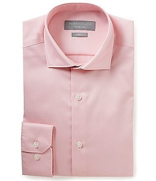 Perry Ellis Non-Iron Slim-Fit Spread-Collar Stretch Solid Twill Dress Shirt