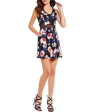 I.N. San Francisco Floral Print V-Neck Illusion-Waist Skater Dress