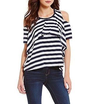 Copper Key Ruffled Round Neck Cold Shoulder Short Sleeve Striped Tee