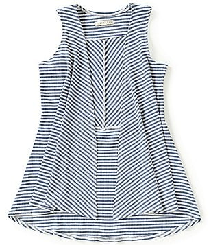 Copper Key Little Girls 4-6X Striped Drape-Front High-Low Knit Vest