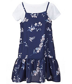 Copper Key Little Girls 4-6X Floral-Printed Ruffle-Hem Slip Dress and Short-Sleeve Solid Tee