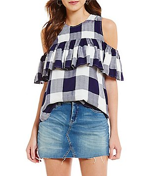 Copper Key Plaid Cold Shoulder Top