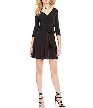 I.N. San Francisco 3/4-Sleeve Faux Wrap A-line Dress