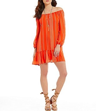 Copper Key Off-The-Shoulder Vertical-Stripe Shift Dress