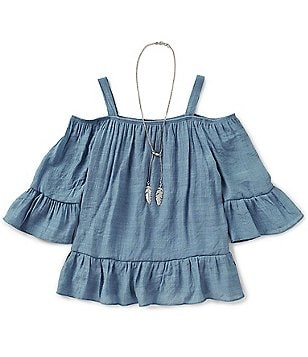 I.N. Girl Big Girls 7-16 Cold-Shoulder Ruffled Gauze Top