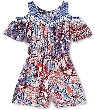 I.N. Girl Big Girls 7-16 Printed Cold-Shoulder Short-Sleeve Romper