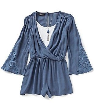I.N. Girl Big Girls 7-16 Surplice V-Neck Bell-Sleeve Romper