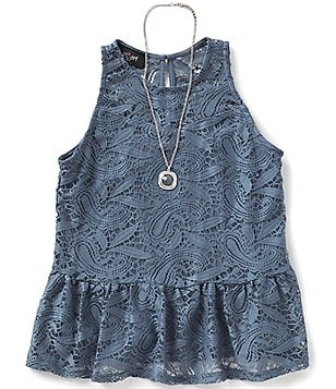 I.N. Girl Big Girls 7-16 Lace Peplum Top