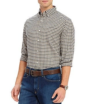 Cremieux Lightweight Checked Washed Oxford Long-Sleeve Woven Shirt