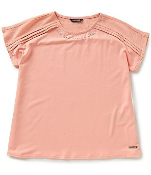 Marciano Big Girls 7-16 Short-Sleeve Rhinestone-Trim Top