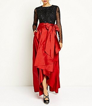Adrianna Papell Beaded Long Sleeve Crop Top and Hi-Low Taffeta Skirt