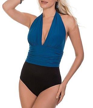 Magicsuit Yves Solid Plunge Halter Tummy Control One-Piece