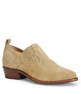 Frye Billy Oiled Suede Western-Inspired Stitching Slip-On Shooties