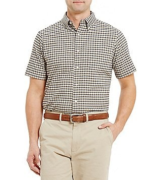 Cremieux Lightweight Washed Oxford Check Short-Sleeve Woven Shirt