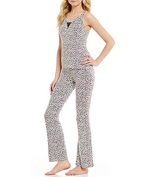 Betsey Johnson Animal-Print & Dotted Mesh Racerback Pajamas