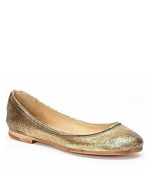 Frye Carson Cracked Metallic Suede Slip-On Ballet Flats