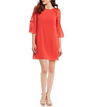 Belle Badgley Mischka Laurice Round Neck 3/4 Sleeve Solid Georgette Dress