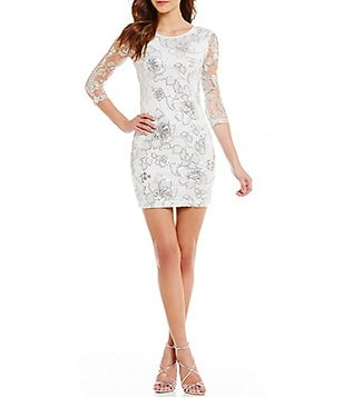 Midnight Doll Floral Sequin Pattern Illusion-Sleeve Mesh Sheath Dress