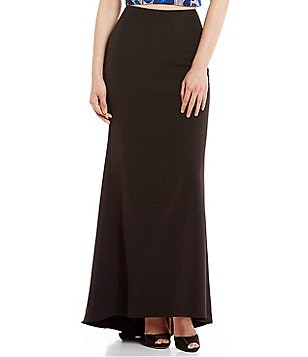 Belle Badgley Mischka Leandra Solid Crepe Maxi Skirt